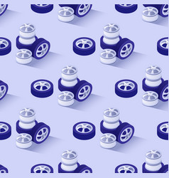 seamless pattern with wheels disks tires stacks vector image