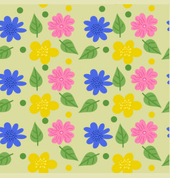 seamless texture with flowers in doodle style vector image