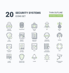 security systems icons set with linear style vector image
