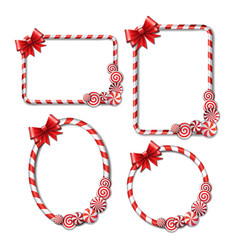 Set frames made candy cane with red and vector