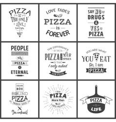 set vintage pizza typographic quotes vector image