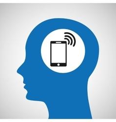 Silhouette head smartphone wireless wifi icon vector