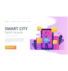 Smart city and digital city guide landing page vector