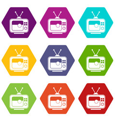 Soccer match on tv icon set color hexahedron vector