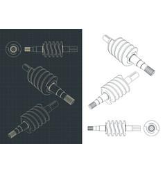 Spiral feed screw drawings vector