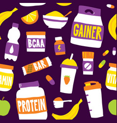 Sport food nutrition seamless pattern vector