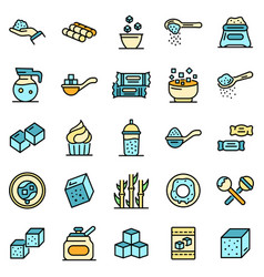 Sugar icons flat vector