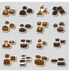 Sweet chocolate truffles styles stickers set eps10 vector