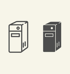 System unit of a computer line and glyph icon pc vector
