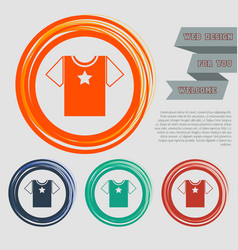 T-shirt icon on the red blue green orange buttons vector