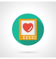 Valentines Day greeting round flat icon vector image