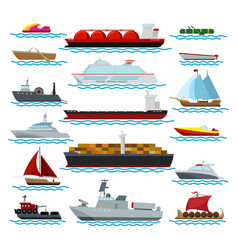 vessels in ocean nautical set vector image