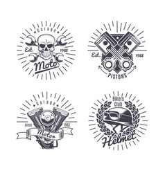 Vintage monochrome motorcycle emblems set vector