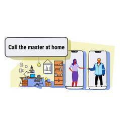 woman calling master at home using mobile app vector image
