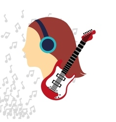 Woman headphone music sound vector