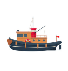 wooden tugboat vector image