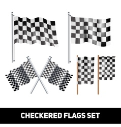 Checkered Flags Decorative Icon Set vector image