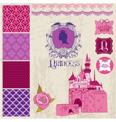 Design Elements - Princess Girl Birthday Set vector image vector image