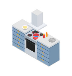 four-burners cooker isolated at restaurant kitchen vector image vector image