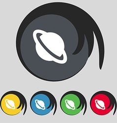 Jupiter planet icon sign Symbol on five colored vector image