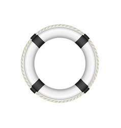 life buoy in white and black design with rope vector image vector image