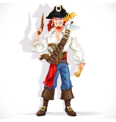 Brave pirate with pistol hold treasure map vector image vector image