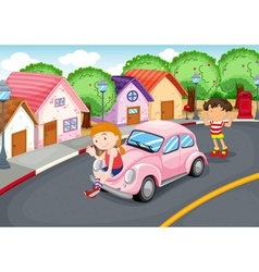 Kids and car vector image vector image