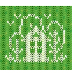 Knitted pattern with house and trees vector image