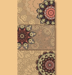 Set of cards with ethnic pattern vector image vector image