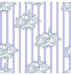 Shell seamless pattern on striped background vector image