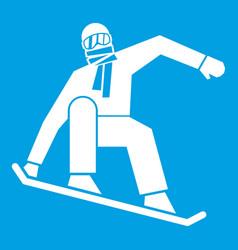 snowboarder icon white vector image vector image