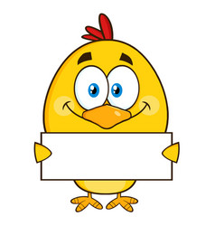 yellow chick character holding a blank sign vector image