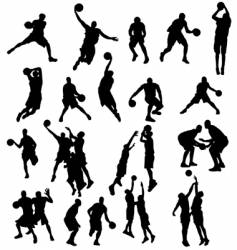 Basket ball silhouettes vector