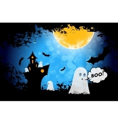 Grungy Halloween Background with Ghosts vector image vector image