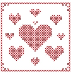 Set of cross stitch embroidery hearts vector image