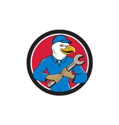 American bald eagle mechanic spanner circle vector