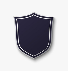 Blank blue shield isolated on white background vector image