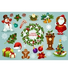 Christmas and New Year holiday cartoon icon set vector image vector image