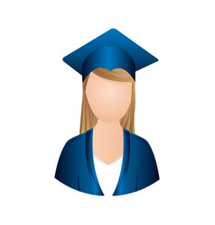 colorful woman graduation icon vector image