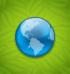 Planet Earth on green leaves texture vector image vector image