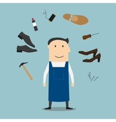 Shoemaker with tools and shoes vector image
