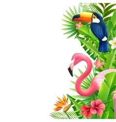 Tropical Rainforest Flamingo Vertical Colorful vector image