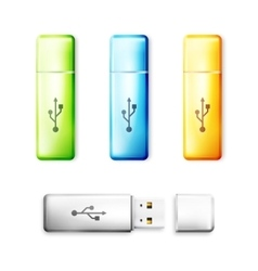 USB flash drive over white background vector image