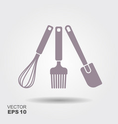 a collection kitchen utensil silhouettes vector image