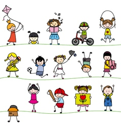A group of little childrens vector image