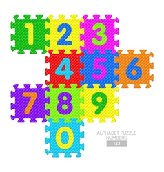 Alphabet puzzle numbers vector image
