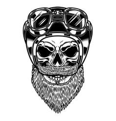 biker skull in racer helmet in engraving style vector image