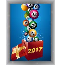 Bingo balls and gift box 2017 panel vector image