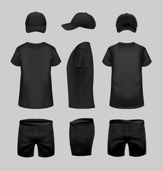 black t-shirt cap and shorts template vector image