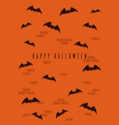 Blak bats on an orange brick wall background vector